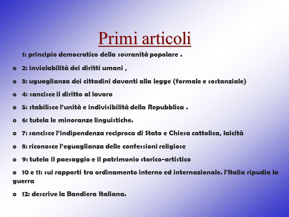 Primi articoli 1: principio democratico della sovranità popolare .