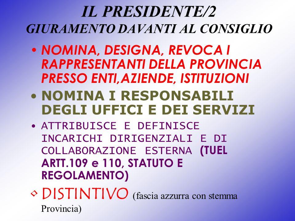 IL PRESIDENTE/2 GIURAMENTO DAVANTI AL CONSIGLIO