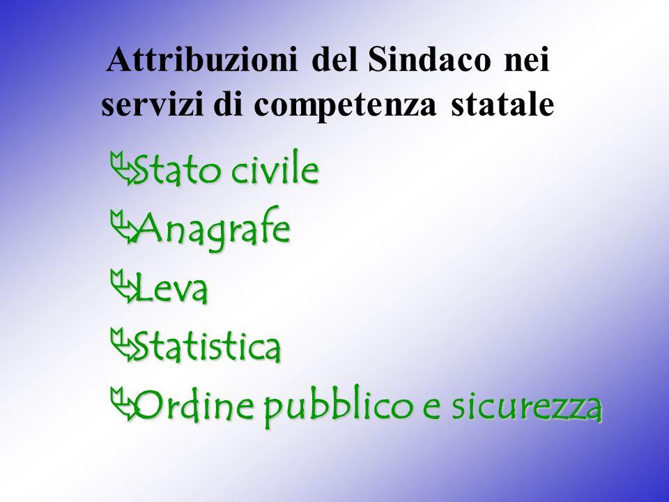 Attribuzioni del Sindaco nei servizi di competenza statale