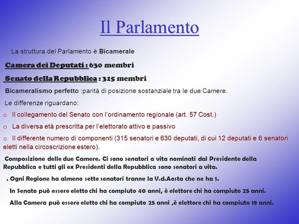 Il Parlamento La struttura del Parlamento è Bicamerale