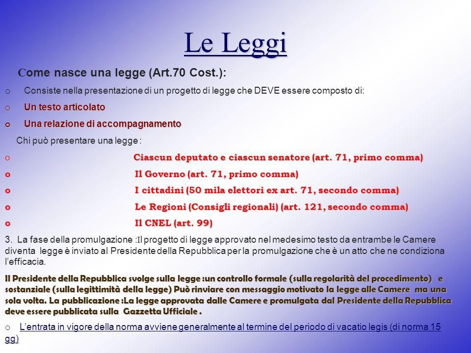 Le Leggi Come nasce una legge (Art.70 Cost.):