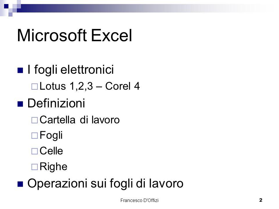 Microsoft Excel I fogli elettronici Definizioni