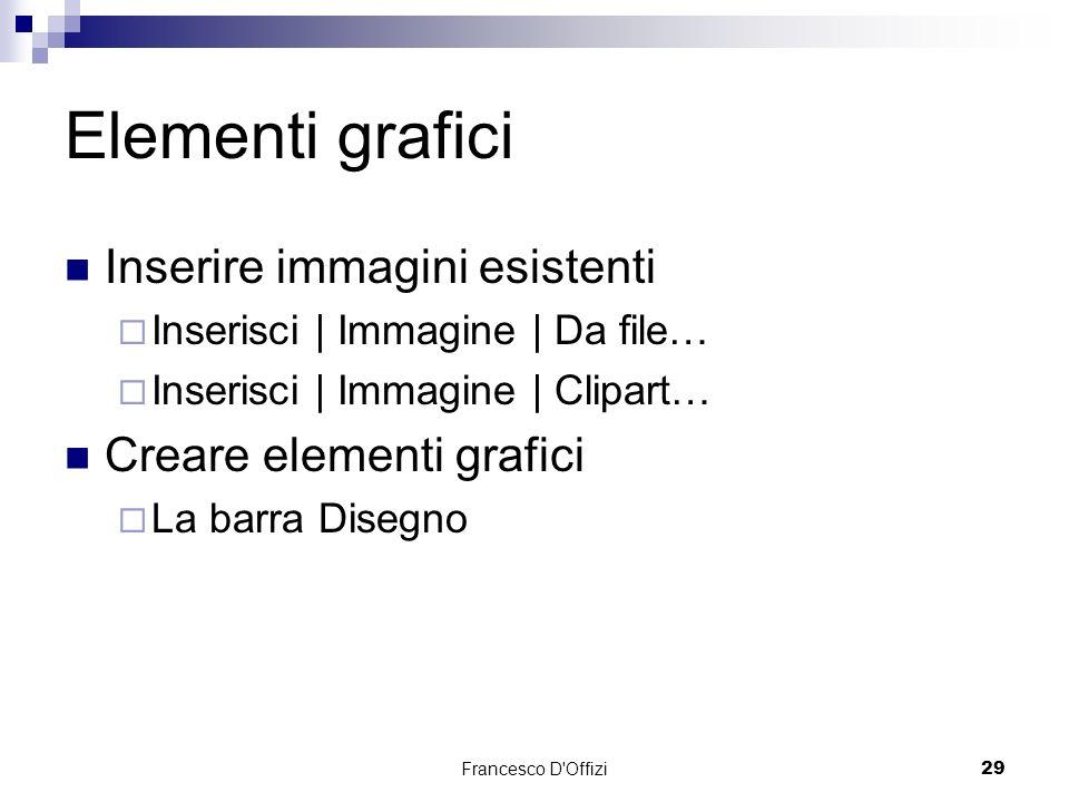 Elementi grafici Inserire immagini esistenti Creare elementi grafici