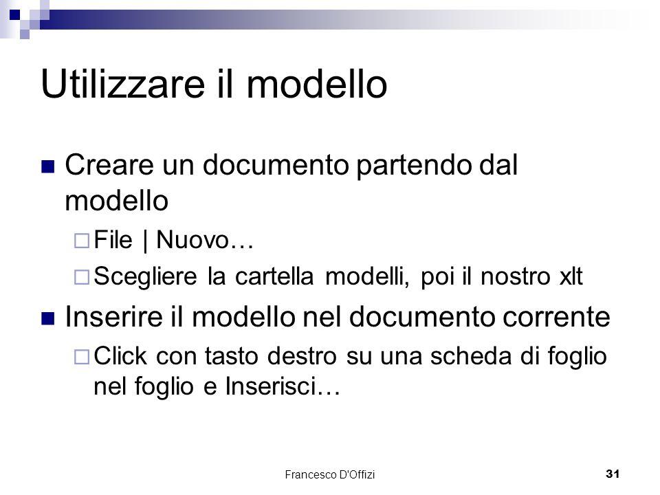 Utilizzare il modello Creare un documento partendo dal modello