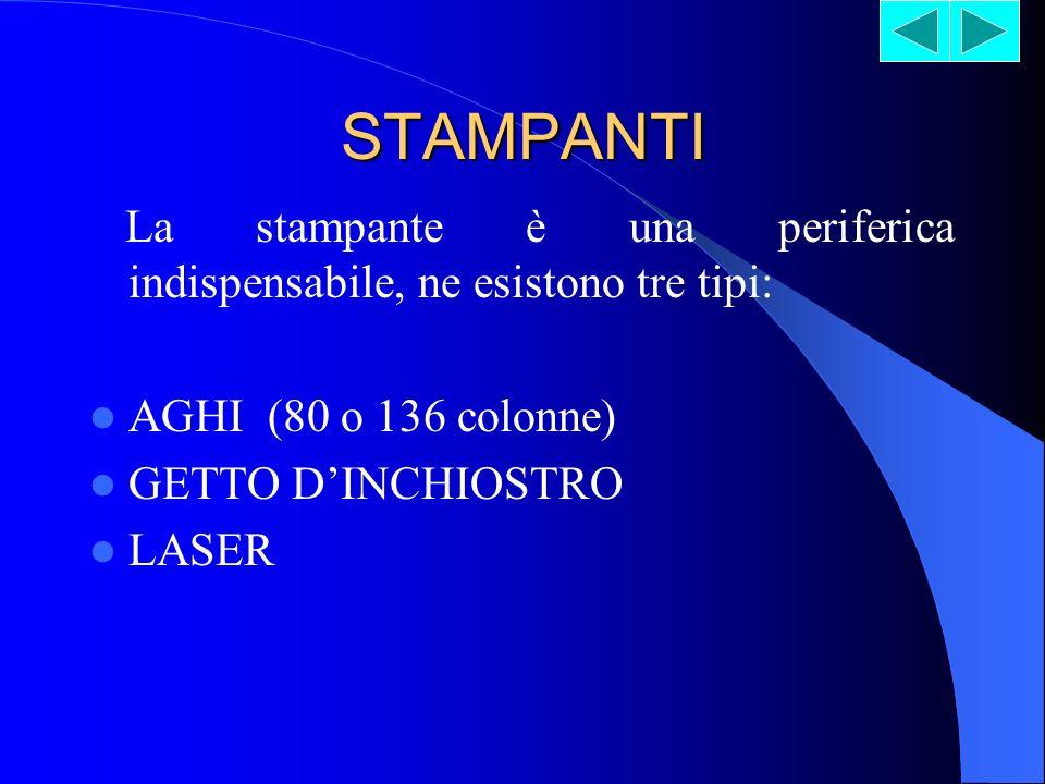 STAMPANTI La stampante è una periferica indispensabile, ne esistono tre tipi: AGHI (80 o 136 colonne)