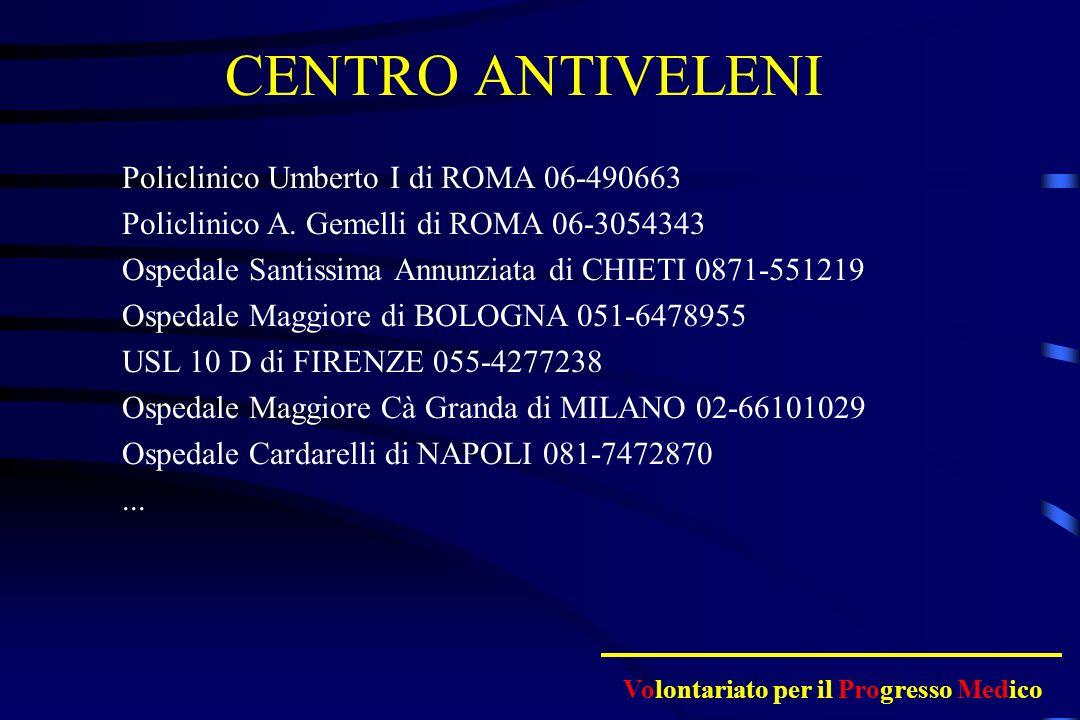 CENTRO ANTIVELENI Policlinico Umberto I di ROMA 06-490663