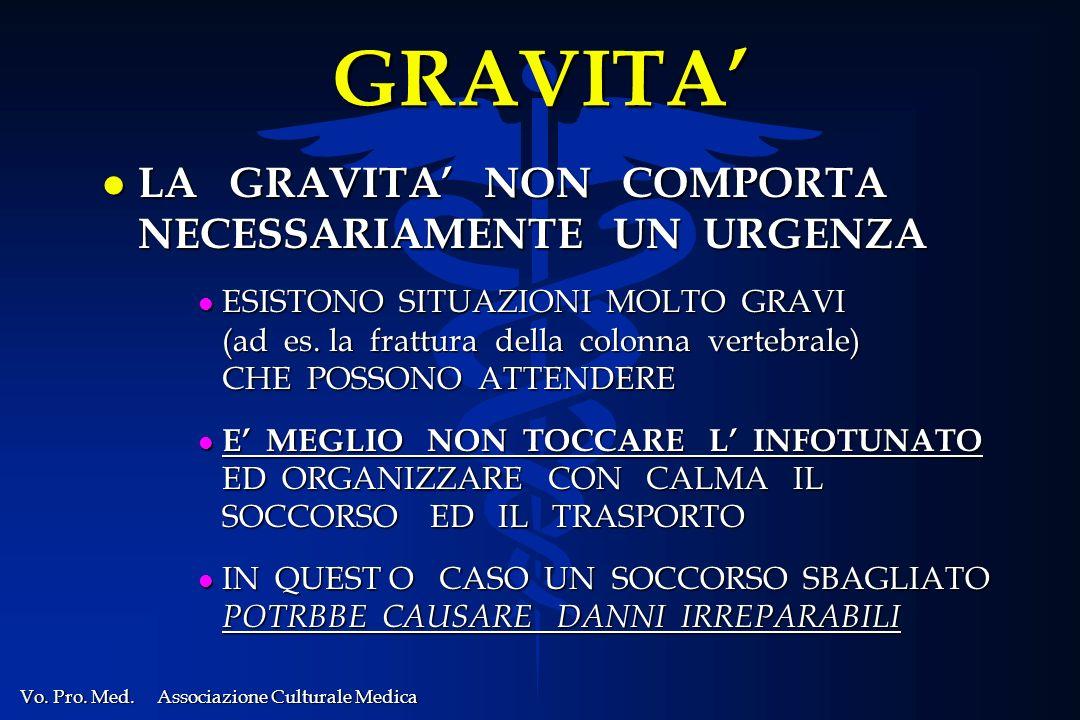 GRAVITA' LA GRAVITA' NON COMPORTA NECESSARIAMENTE UN URGENZA