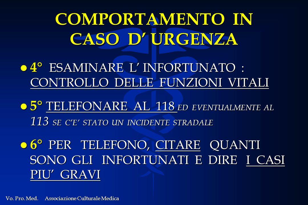 COMPORTAMENTO IN CASO D' URGENZA