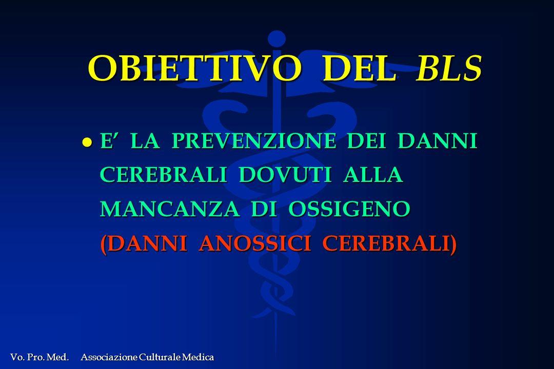 OBIETTIVO DEL BLS E' LA PREVENZIONE DEI DANNI CEREBRALI DOVUTI ALLA MANCANZA DI OSSIGENO (DANNI ANOSSICI CEREBRALI)