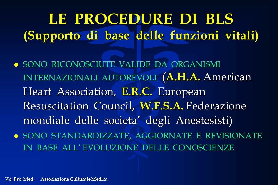 LE PROCEDURE DI BLS (Supporto di base delle funzioni vitali)