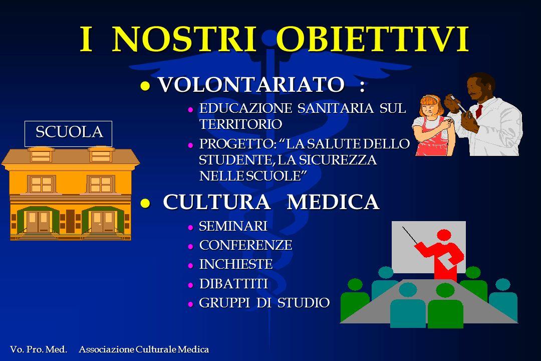 I NOSTRI OBIETTIVI VOLONTARIATO : CULTURA MEDICA SCUOLA