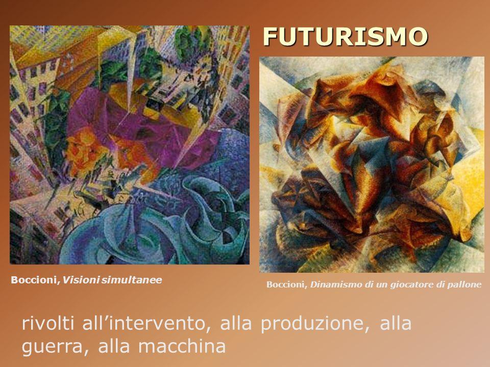 FUTURISMO Boccioni, Visioni simultanee. Boccioni, Dinamismo di un giocatore di pallone.