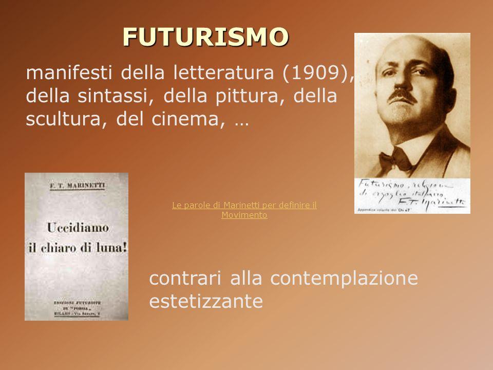 Le parole di Marinetti per definire il Movimento