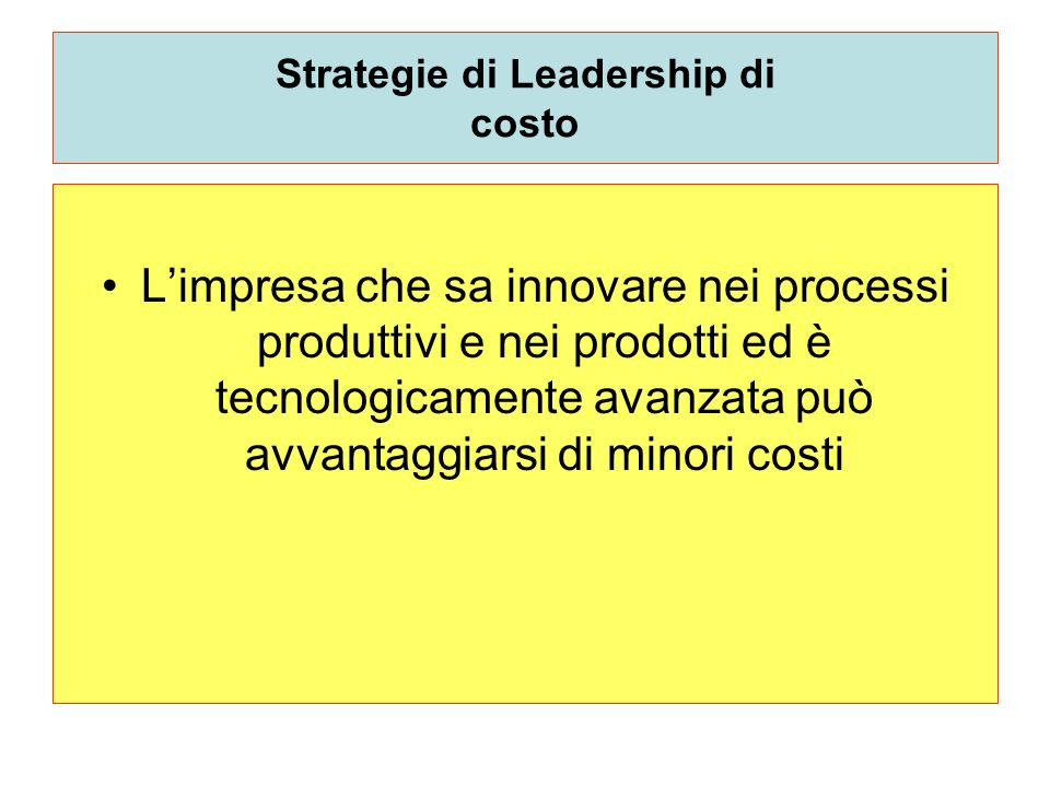 Strategie di Leadership di costo