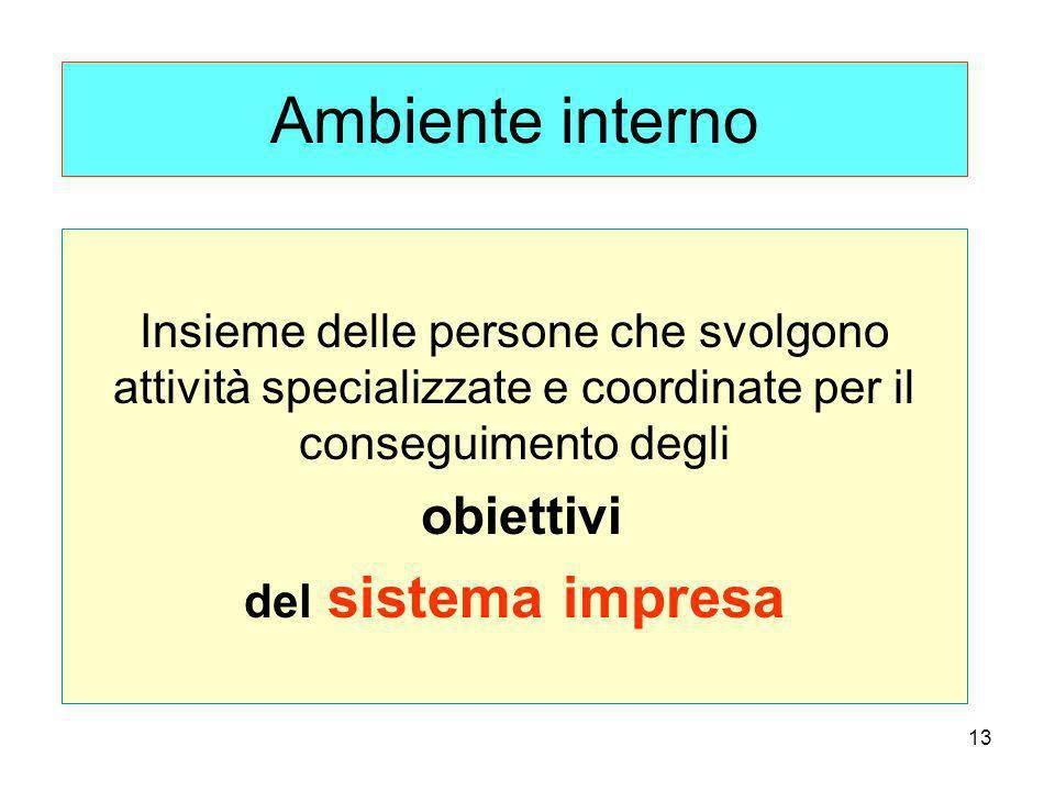 Ambiente interno Insieme delle persone che svolgono attività specializzate e coordinate per il conseguimento degli.