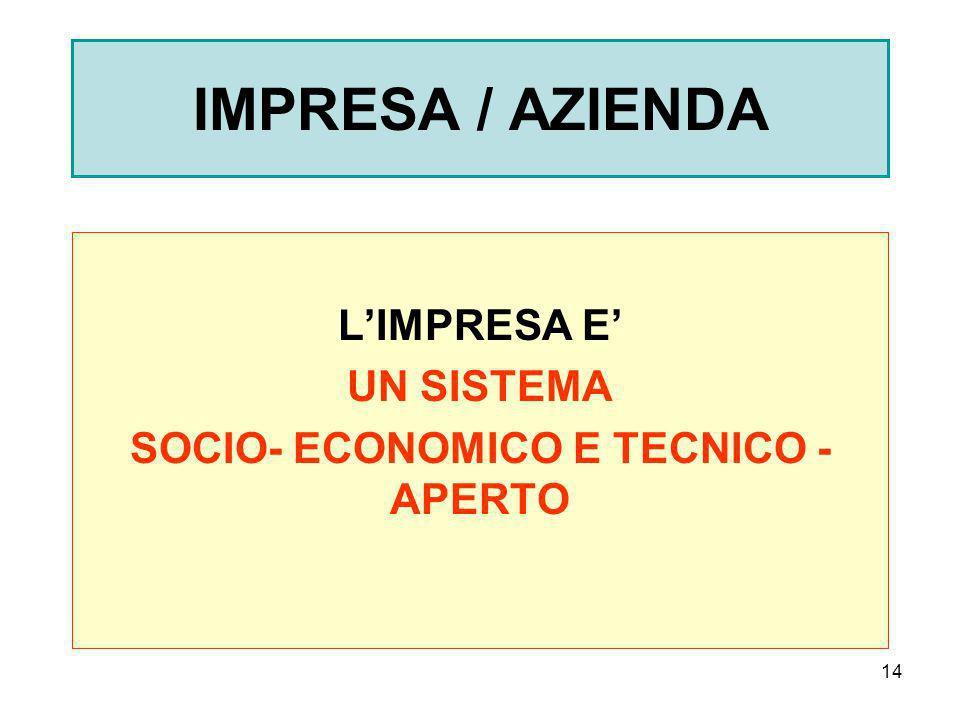 L'IMPRESA E' UN SISTEMA SOCIO- ECONOMICO E TECNICO - APERTO