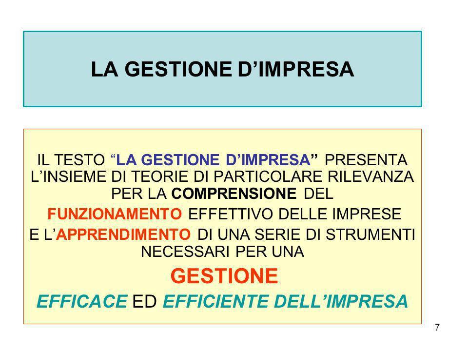 LA GESTIONE D'IMPRESA EFFICACE ED EFFICIENTE DELL'IMPRESA