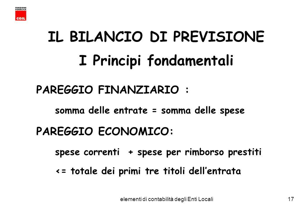 IL BILANCIO DI PREVISIONE I Principi fondamentali