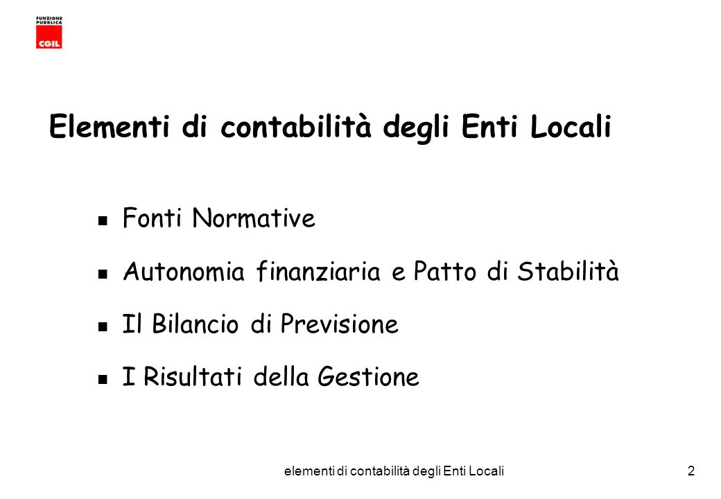 Elementi di contabilità degli Enti Locali