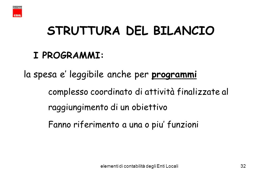 STRUTTURA DEL BILANCIO