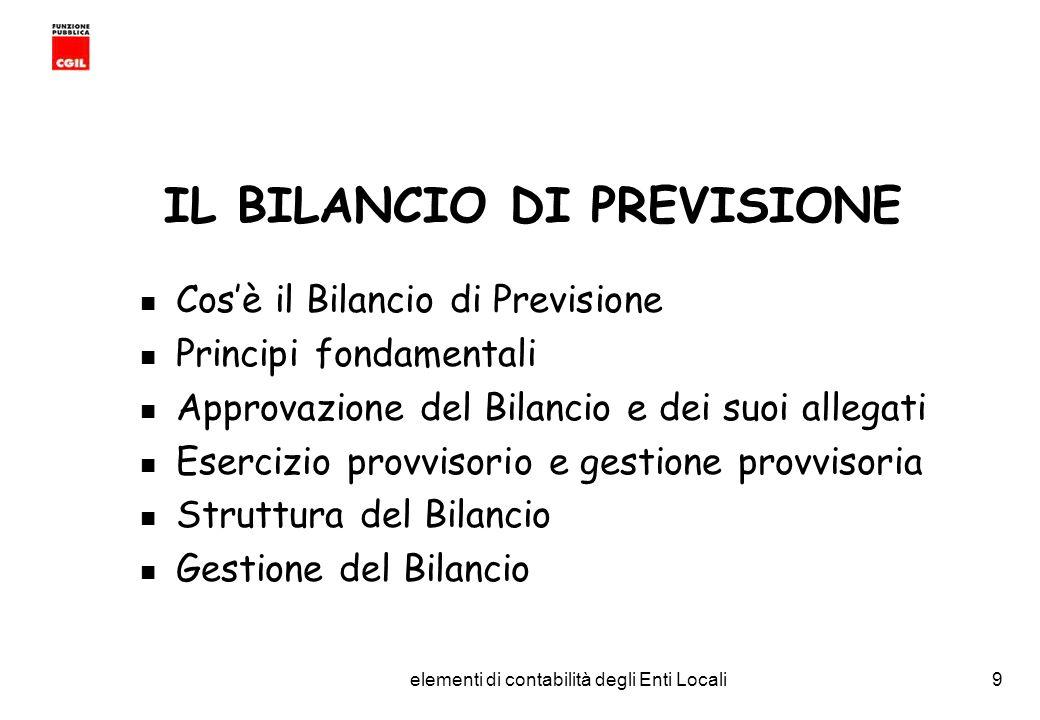 IL BILANCIO DI PREVISIONE