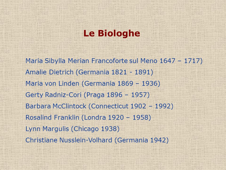 Le Biologhe Maria Sibylla Merian Francoforte sul Meno 1647 – 1717)