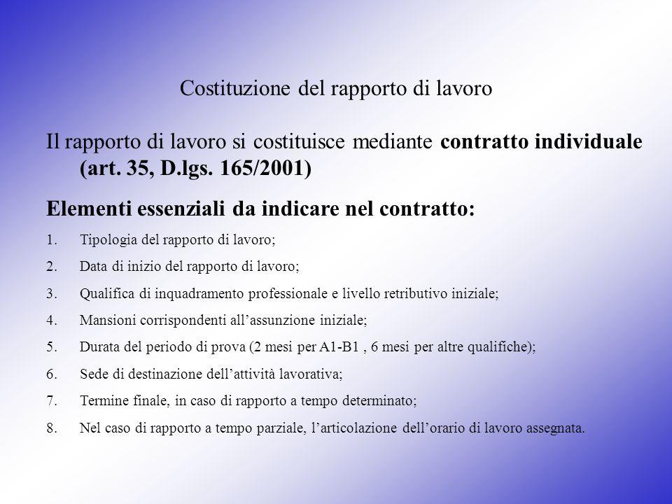 Costituzione del rapporto di lavoro