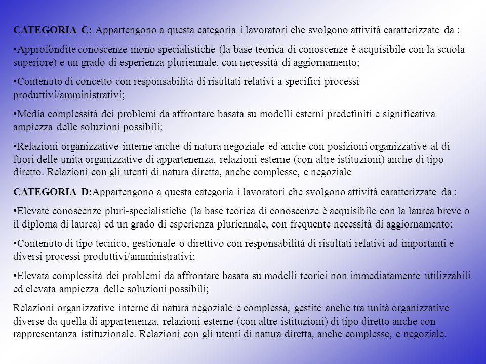 CATEGORIA C: Appartengono a questa categoria i lavoratori che svolgono attività caratterizzate da :