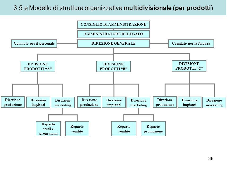 3.5.e Modello di struttura organizzativa multidivisionale (per prodotti)