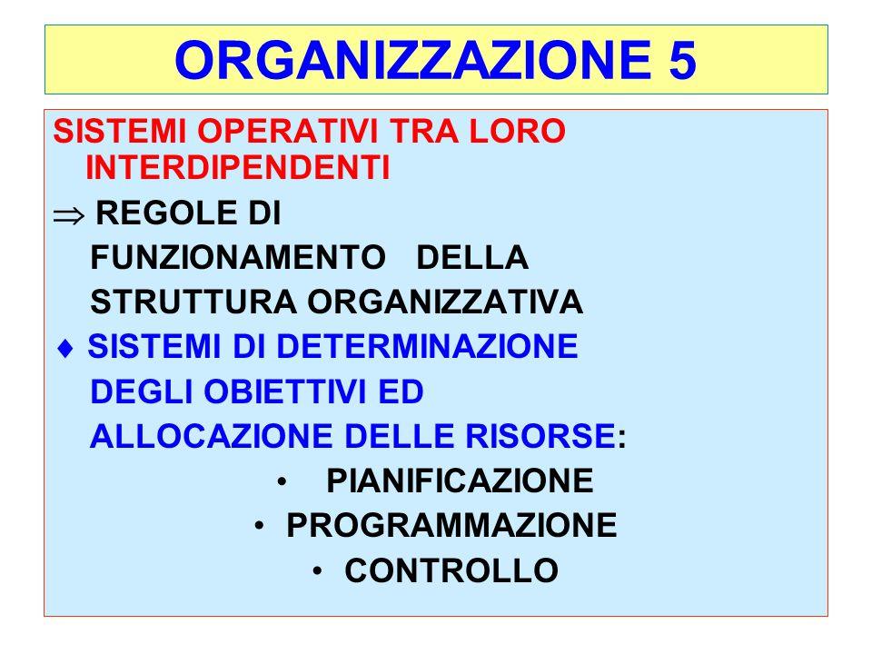 ORGANIZZAZIONE 5 SISTEMI OPERATIVI TRA LORO INTERDIPENDENTI