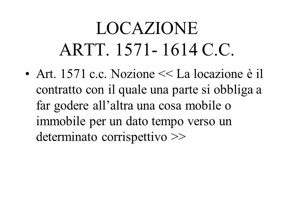 LOCAZIONE ARTT. 1571- 1614 C.C.
