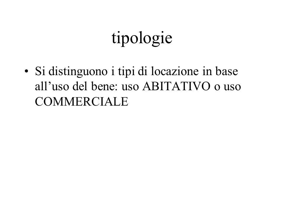 tipologieSi distinguono i tipi di locazione in base all'uso del bene: uso ABITATIVO o uso COMMERCIALE.