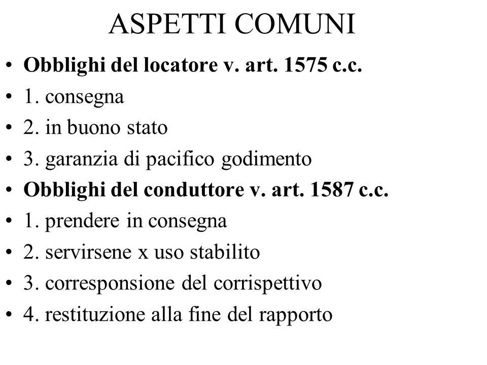 ASPETTI COMUNI Obblighi del locatore v. art. 1575 c.c. 1. consegna