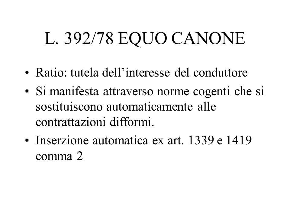 L. 392/78 EQUO CANONE Ratio: tutela dell'interesse del conduttore
