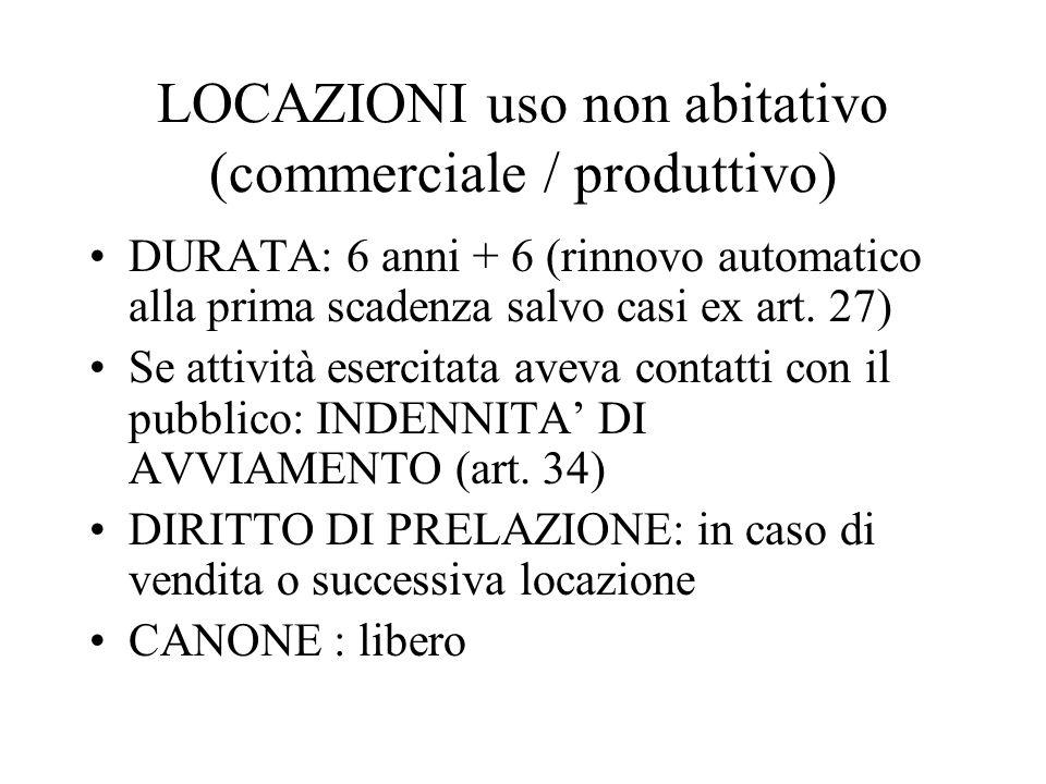 LOCAZIONI uso non abitativo (commerciale / produttivo)