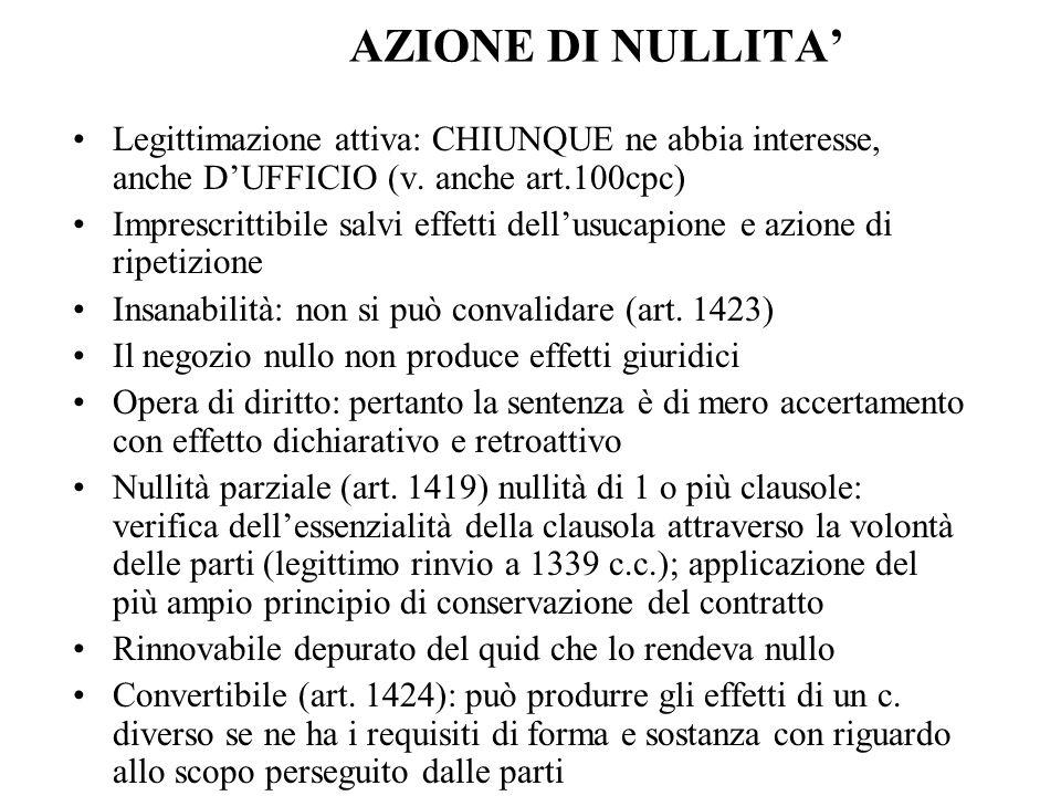 AZIONE DI NULLITA'Legittimazione attiva: CHIUNQUE ne abbia interesse, anche D'UFFICIO (v. anche art.100cpc)
