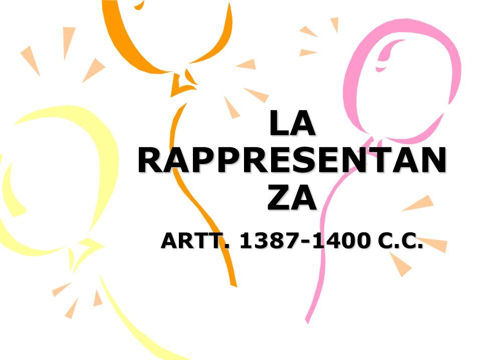 LA RAPPRESENTANZA ARTT. 1387-1400 C.C.