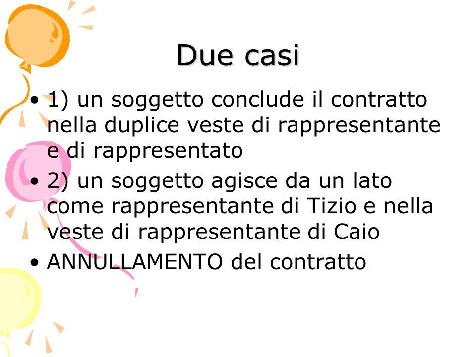 Due casi 1) un soggetto conclude il contratto nella duplice veste di rappresentante e di rappresentato.