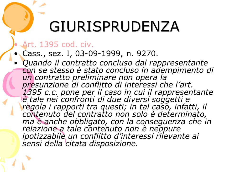 GIURISPRUDENZA Art. 1395 cod. civ. Cass., sez. I, 03-09-1999, n. 9270.
