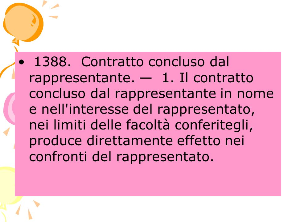 1388. Contratto concluso dal rappresentante. — 1