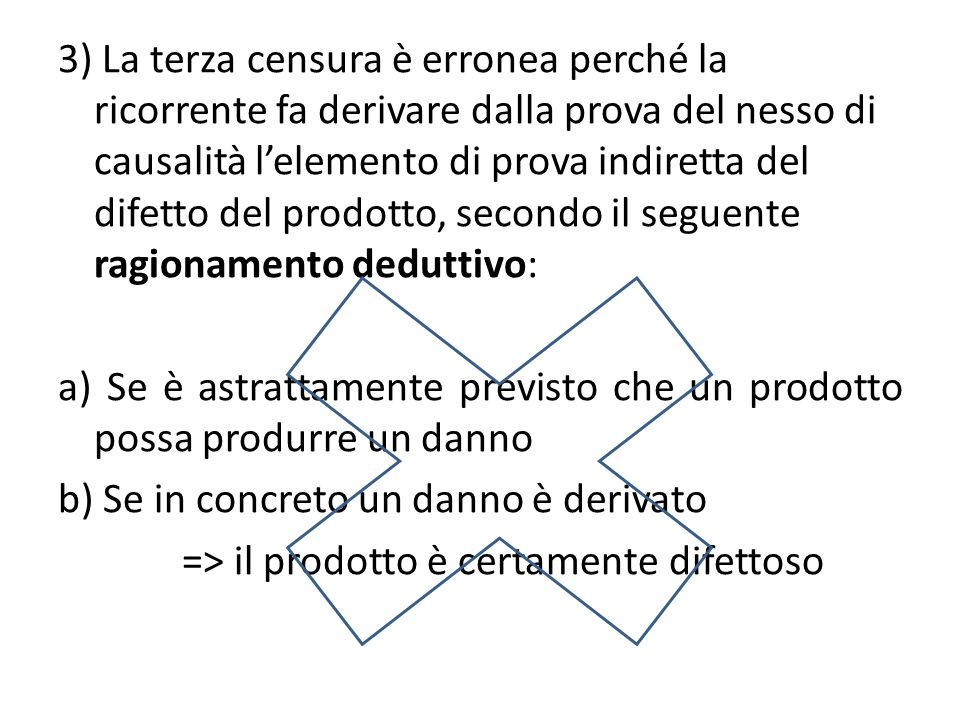 3) La terza censura è erronea perché la ricorrente fa derivare dalla prova del nesso di causalità l'elemento di prova indiretta del difetto del prodotto, secondo il seguente ragionamento deduttivo: a) Se è astrattamente previsto che un prodotto possa produrre un danno b) Se in concreto un danno è derivato => il prodotto è certamente difettoso