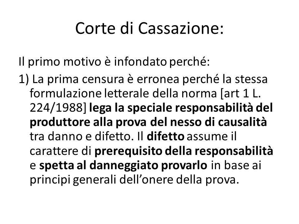 Corte di Cassazione: