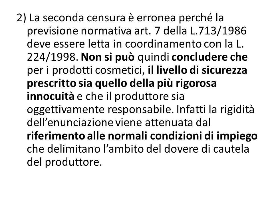 2) La seconda censura è erronea perché la previsione normativa art