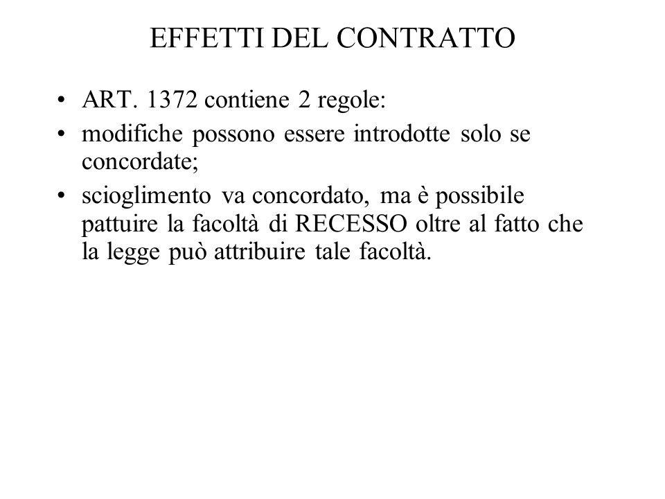 EFFETTI DEL CONTRATTO ART. 1372 contiene 2 regole: