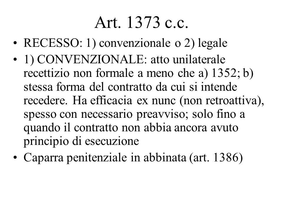 Art. 1373 c.c. RECESSO: 1) convenzionale o 2) legale