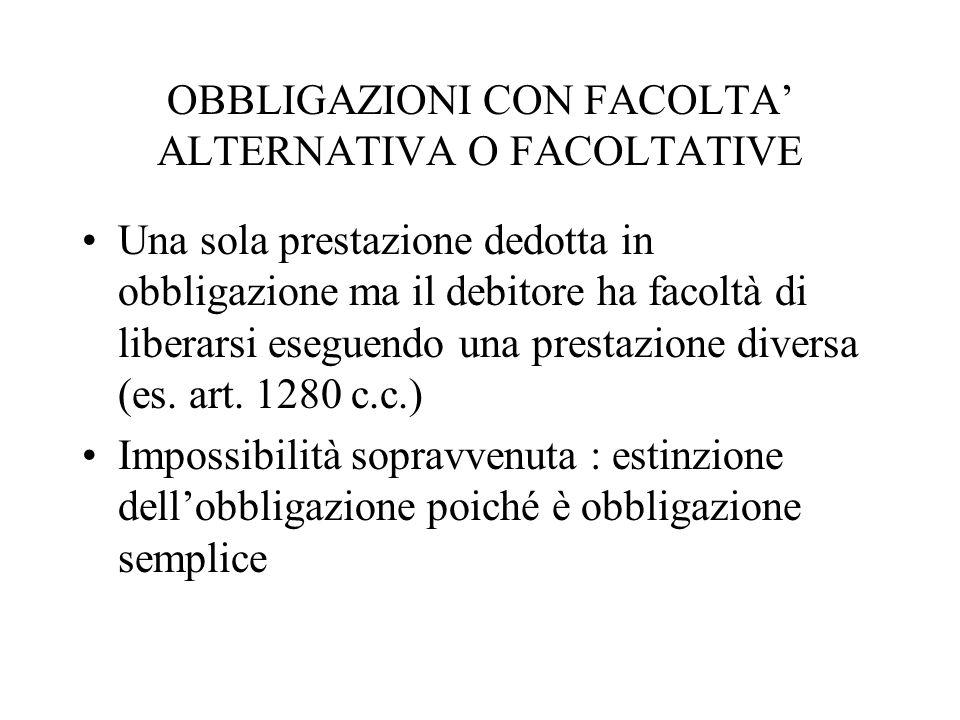 OBBLIGAZIONI CON FACOLTA' ALTERNATIVA O FACOLTATIVE
