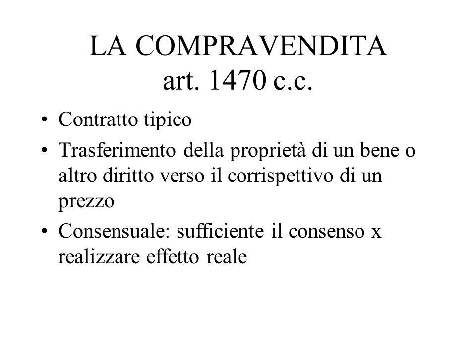 LA COMPRAVENDITA art. 1470 c.c.