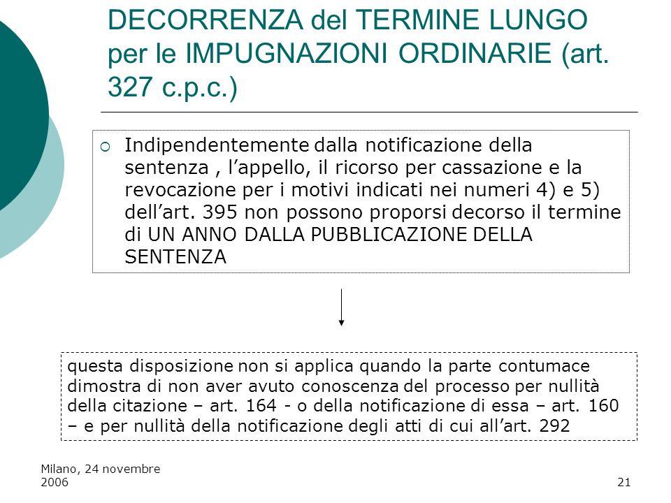 DECORRENZA del TERMINE LUNGO per le IMPUGNAZIONI ORDINARIE (art. 327 c