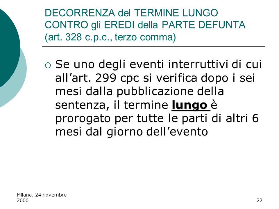 DECORRENZA del TERMINE LUNGO CONTRO gli EREDI della PARTE DEFUNTA (art