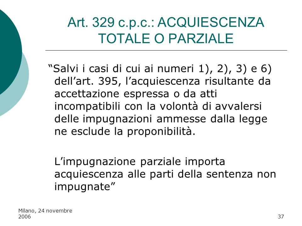 Art. 329 c.p.c.: ACQUIESCENZA TOTALE O PARZIALE